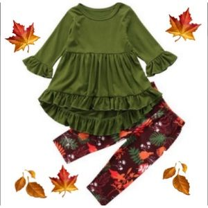Other - FALL GREEN FLORAL MATCHING OUTFIT